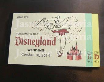 Disneyland Tinkerbell Disney inspired Vintage E Ticket 3 Page Birthday Invitation Booklet