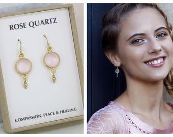 Rose quartz earrings, gemstone drop earrings, Christmas gift for daughter, sister, girlfriend, wife - Bay