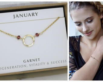 January birthstone bracelet for her, garnet bracelet, January birthday gift for daughter, goddaughter, sister - Luna