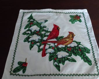 "Vintage Christmas Cardinals Theme Pillow Sham 17"" x 17"""