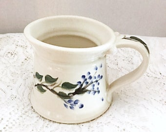 White coffee cup, ceramic tea cup, hot chocolate mug, clay coffee cup with wild blue flowers painted, soup mug, clay ceramic cup