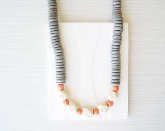 Grey Wood Neckace, Wood Anniversary Gift for Her, Orange, Ivory Colored, 5th, Statement Jewelry, Hexagon, Modern, Beaded, Faceted