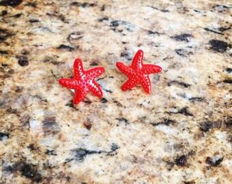 Starfish post earrings resin tropical oasis kitsch