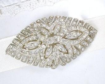 Antique 1930s Wedding Dress Sash Brooch, Bridal Hair Clip, Hair Comb OR Barrette, Vintage Art Deco Pave Rhinestone Silver Gatsby Accessory