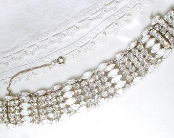 KRAMER of NY Opal White Givre & Clear Crystal Bracelet, Old Hollywood Glam Rhinestone Wide Cuff Silver Bridal Bracelet Vintage Wedding 1950