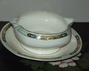 Grindley Georgian Ivorie Gravy Boat with Attached Underplate