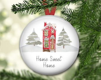 Home Sweet Home ornament for tree - Victorian house Christmas ornament - modern farmhouse decor - ORN-60