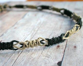 Flat Natural Black Hemp Surfer Necklace Two Colors Custom Handmade