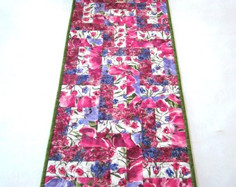 Handmade quilts and table runners for your by patchworkmountain spring table runner floral handmade quilted pink purple runner easter gifts for her housewarming thank you negle Image collections