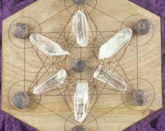 Garnet and Quartz Points Clear Raw Natural Gridding Set Healing Stones Crystals Crystal Grid Red Small