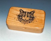 Cat Box - Handmade Wood Box of Alder- Treasure Box, Cat Gift Box, Trinket Box, Stash Box, Wooden Box, Small Box, Keepsake Box, Kitten Box