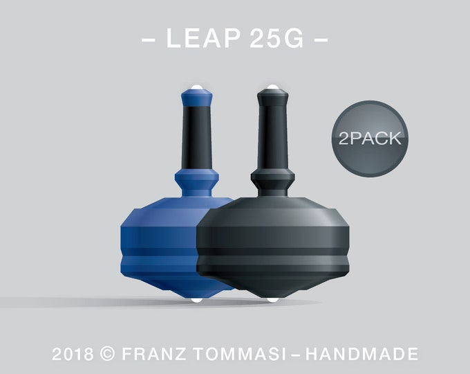 Leap 25G-2Pack (Blue-Black) – Value-priced set of spin tops with dual ceramic tip and rubber grip