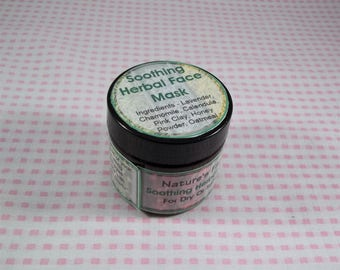 Soothing Herbal Face Mask, Clay Face Mask, Skin Cleansing Mask, Face Mask, Clay Mask