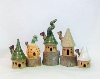 Fairy Houses, Garden Fairy Houses, Garden Decoration, Set of 5 Small Sweet Houses - Handmade, Wheel Thrown - Actual Set - Ready to Ship
