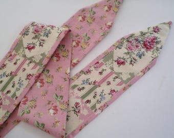 Cottage Head Scarf, Tiny Floral Cottage Head Scarf, Cream and Pink Cottage Head Scarf