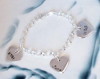 Personalised 3 love heart sterling silver bracelet