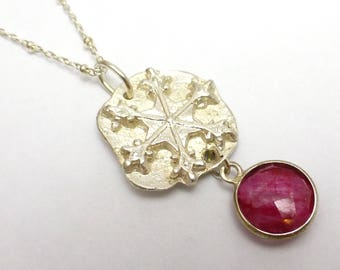 Fine Silver Necklace Snowflake with Ruby Drop 20 Inches Long Handmade by Lisajoy Sachs PMC One of a Kind Etsycij
