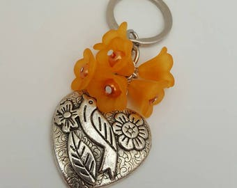 Orange Flower, Bird and Heart Keychain/ Bag Charm