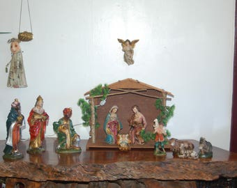 12 inch scale Paper Mache 12 piece Nativity Set / Creche includes Gloria Angel & Stable. Made in Japan. Excellent Condition. 1950's -1960's