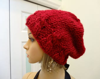 RED WINTER HAT,ladies hat, Sparkling red yarn, acrylic, bulky  knit, slouchy style hat, cable forehead ,one size fits all