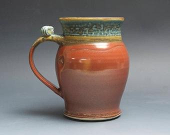 Pottery beer mug,  ceramic mug, extra large stoneware stein, iron red 30 oz 4080