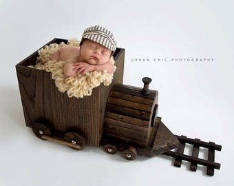 Baby Train Conductor Cap/ Baby Conductor Hat/ Baby Hats/Baby Photo Prop