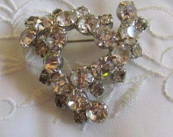 Vintage Silver Tone Triangular Shaped Clear Faceted Rhinestone Brooch