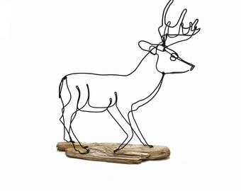 Buck Wire Sculpture, Deer Wire Art, Deer Wire Sculpture, Stag Art, 579485421
