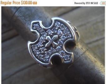 ON SALE Knights templar ring in sterling silver with cz's