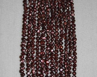 Pearl, Freshwater Pearl, Pearl Nugget, Red Bronze Pearl, Genuine Pearl, Real Pearl, Loose Pearl, Drilled Pearl, Strand, 6-7mm, AdrianasBeads