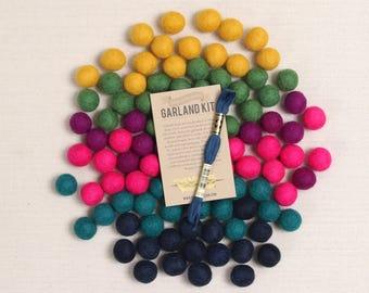 Felt Pom-Poms // Bejeweled // Jewel Tone Garland Kit, Birthstone Color Palette, DIY Garland, Fall Crafts, Rich Hues, Felt Balls, Felt Beads