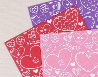 Printed Felt // Be Mine Valentine // Valentine's Day Craft, Heart Designs, Printed Wool Blend Felt Sheets, Valentine Garland, Heart DIY