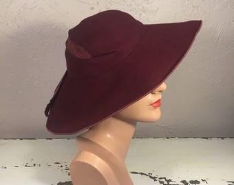 Elegant Ladies Gather - Vintage 1930s Milgrim Burgundy Wool Felt Slouch Wide Brim Hat