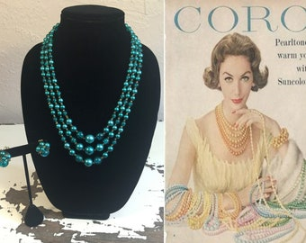 A Quick Thought of Her - Vintage 1950s Turquoise Blue Pearl Marble 3 Strand Necklace & Earring Set