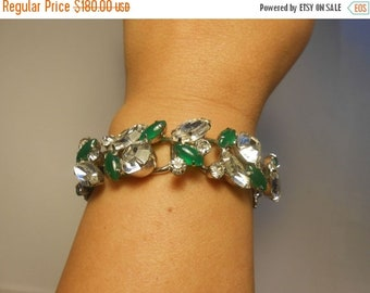Anniversary Sale 35% Off The Emeralds of Ireland - Vintage 1950s Juliana Clear and Jade Green Cabochon Rhinestone Bracelet  - D & E