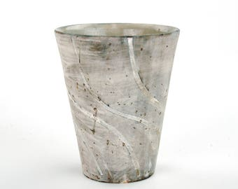 Cup with White Swirling Stripes