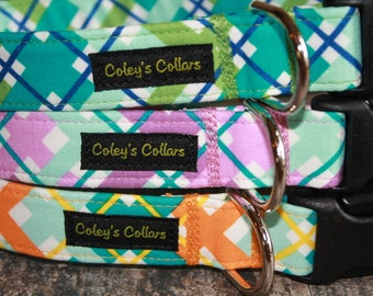 "Dog Collar ""The Hello Plaid Collection"" Multi Colored Plaid Dog Collar"
