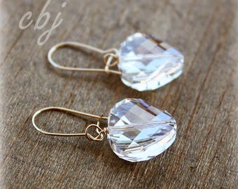 Clear Crystal Earrings, Crystal Earrings, Sterling Silver Crystal Earrings, Bridal Earrings, Bridesmaid Earrings