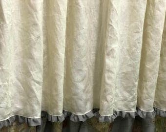 """Linen Shower Curtain with 1"""" Ruffled Hem-Lined Shower Curtain-Cream with Grey Ruffle-Pleated Shower Curtain for Standard Curtain Rings"""