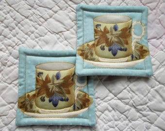 Blue TeaCup Quilted Coasters (Set of 2)
