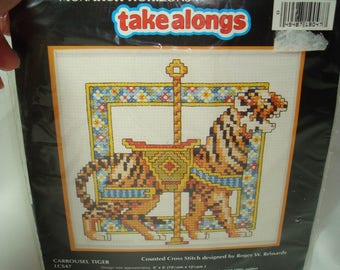 1993 Carrousel Tiger Counted Cross Stitch Kit Designed by Roger w. Reinardy by Horizons Designs.