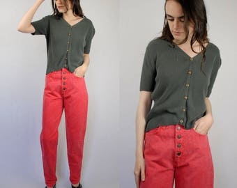 Coral pink high waist high rise button fly jeans PETITE 1990s 90s VINTAGE