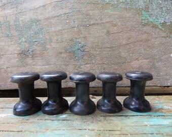 5 black knobs Radio car drawer cabinet restoration hardware supplies