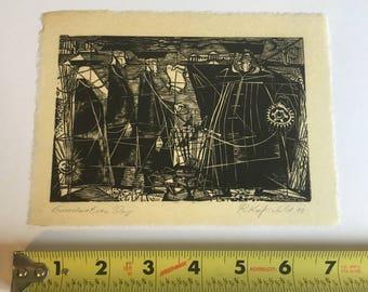 """Vintage Antique 1949 ROBERT KNIPSCHILD Art Wood Print Listed Modern Artist - """"Graduation Day"""""""