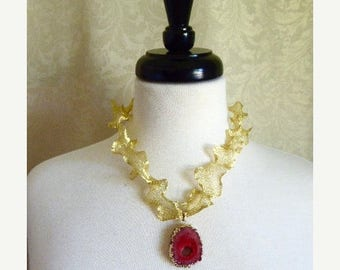 HUGE SALE Choker Length OOAK Geode Pendant necklace In Gold and Rosy Red with Gold Titanium Mesh Ribbon Chain and  Simple Hook Clasp