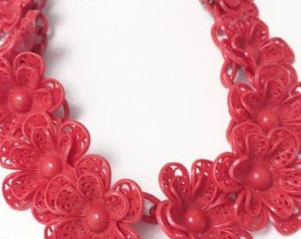 1930s Red Celluloid Necklace Flower Rosettes Collar Choker Dangles