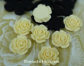 20%off:698-00-CA 8pcs (15mm)High Quality Rose Cabochon-Ivory