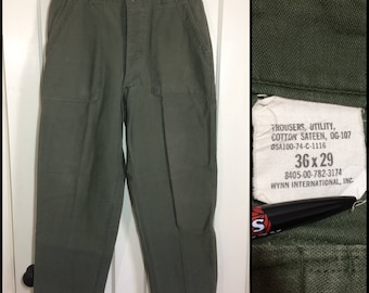 1970s 1974 Vietnam faded 4 pocket button fly US Military field cotton sateen utility trousers 36x29, measures 32x27 Army baker pants #107