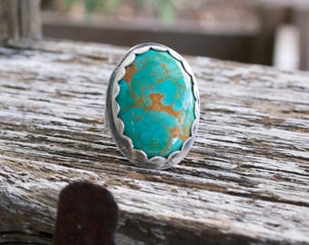 Turquoise Sterling Silver Oxidized Boho Gypsy Wide Band Silversmith Artisan Woodland Cross Christian Ring