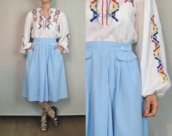 Sky Blue Cotton Skirt / High Waist Cotton Skirt / 80s Blue Cotton Skirt / Pocket Skirt / Asymmetrical Skirt / Pleated Skirt